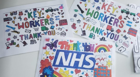 Three thank you NHS and keyworker drawings for display in windows