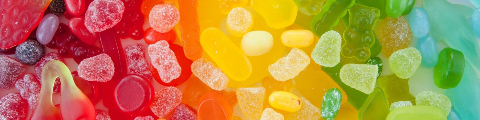 Rainbow of different jelly sweets