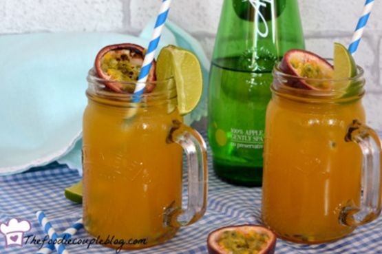 Two glasses of tropical mocktail