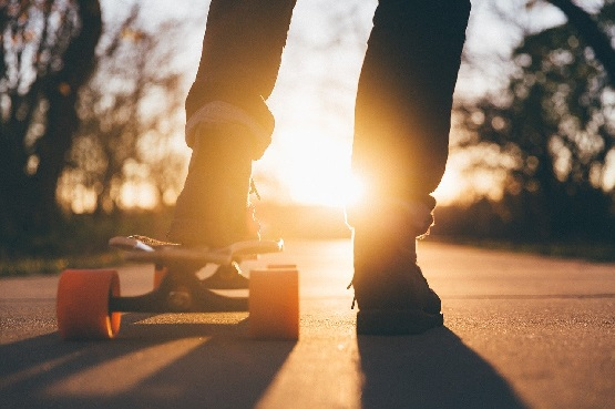 a person on a skateboard outdoors