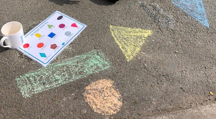 Shapes drawn on the ground in chalk