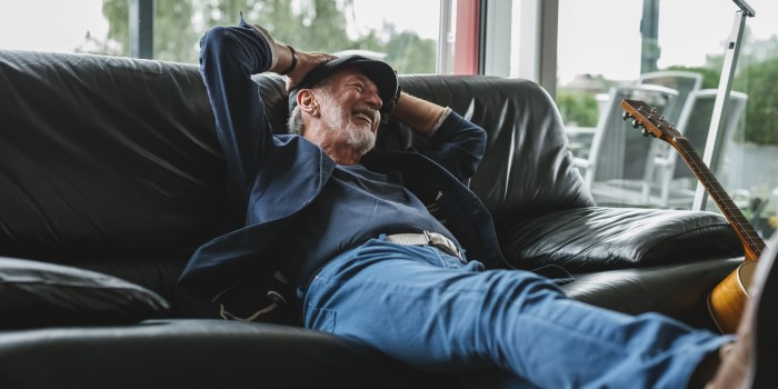 a senior man relaxing at home