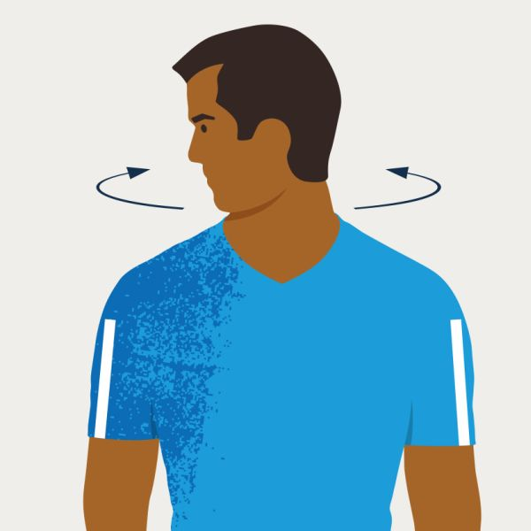 An illustration of a neck rotation
