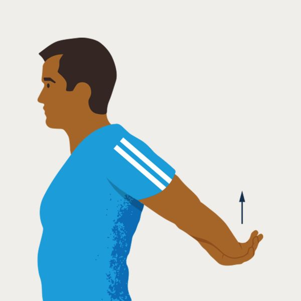 an illustration of a shoulder extension behind the back