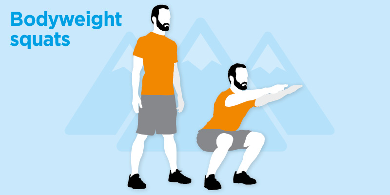 Infographic of bodyweight squats from Bupa