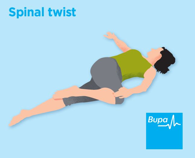 Illusstration of a spinal twist stretch