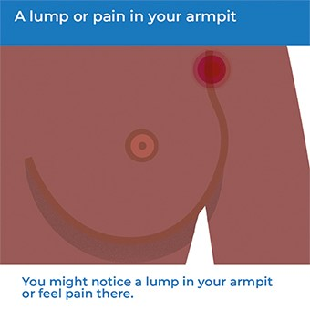 An image showing how pain in your armpit can be a symptom of breast cancer