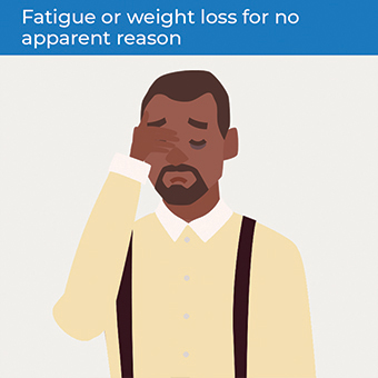 An image showing the symptoms of bowel cancer- fatigue