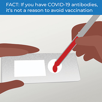 infographic explaining COVID-19 antibodies are not a reason to avoid vaccination