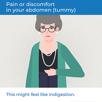 An image showing pain in your abdomen, a symptom of a heart attack