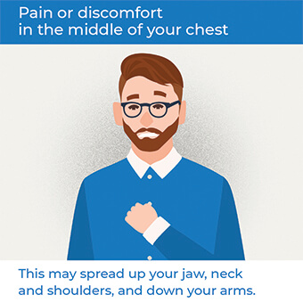 An image showing pain in your chest, a symptom of a heart attack