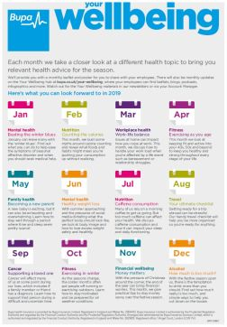 Bupa's 2019 calendar for Your Wellbeing